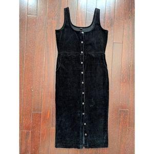 J.Crew Button Black Velvet Maxi Pinafore Dress
